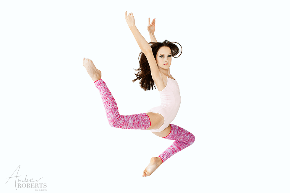 dance portrait of young modern dancer leaping