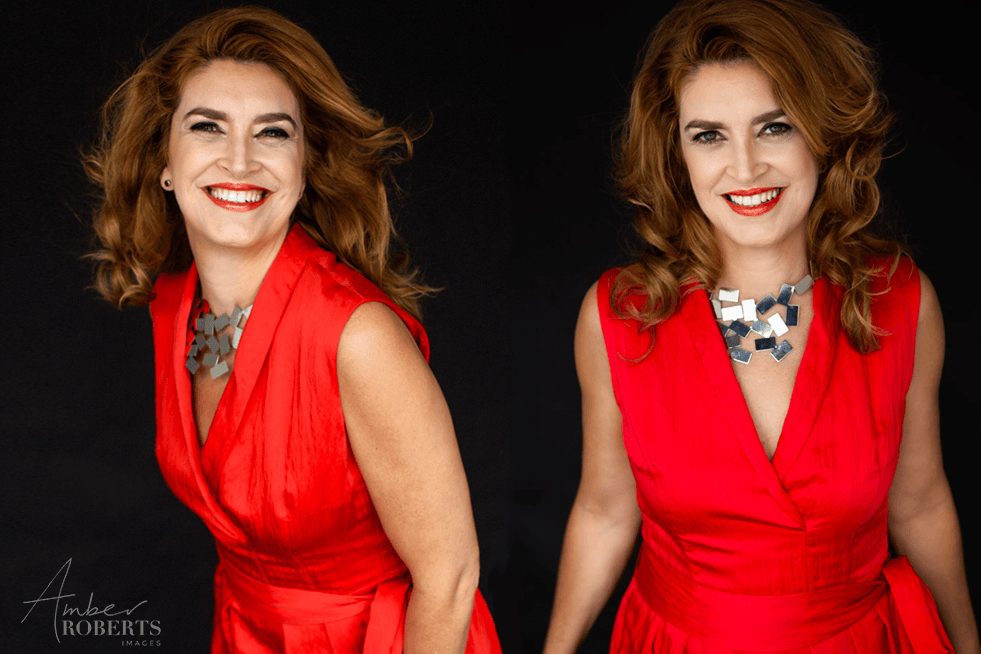 glamorous woman wears red dress in photo shoot