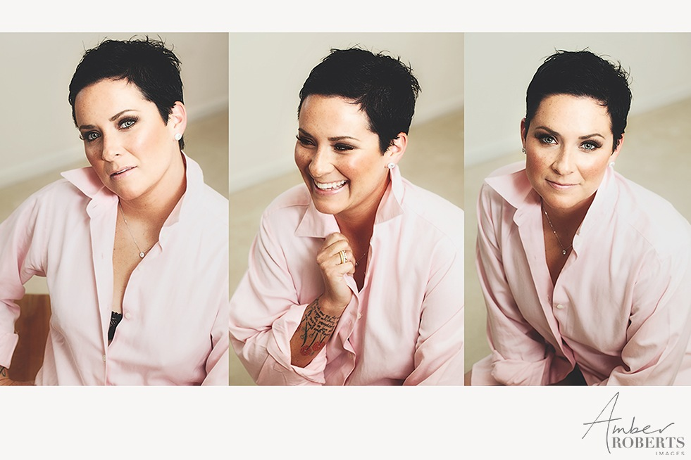 3 portraits of a woman wearing a pink blouse