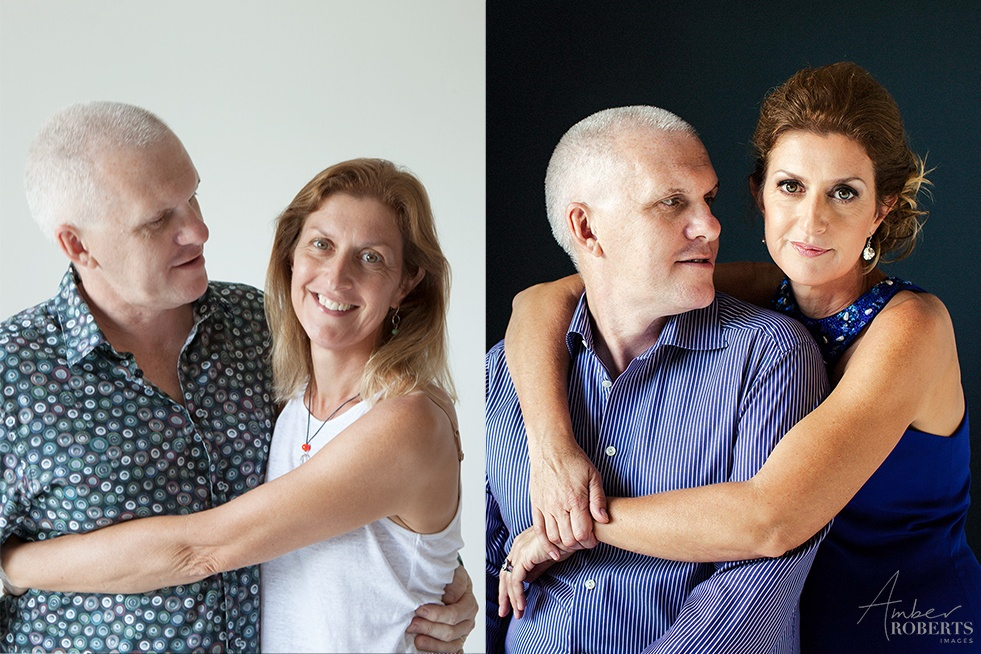 lovely couple before and after their portrait photo session
