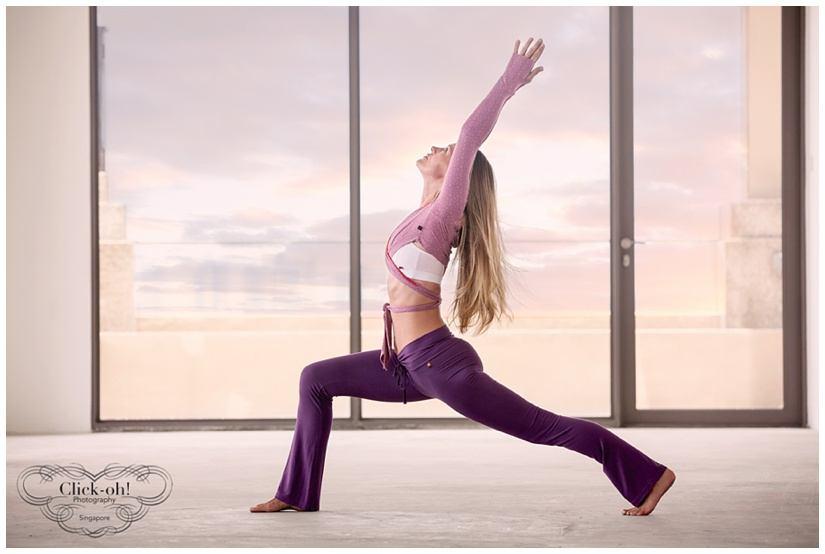 models holds yoga pose