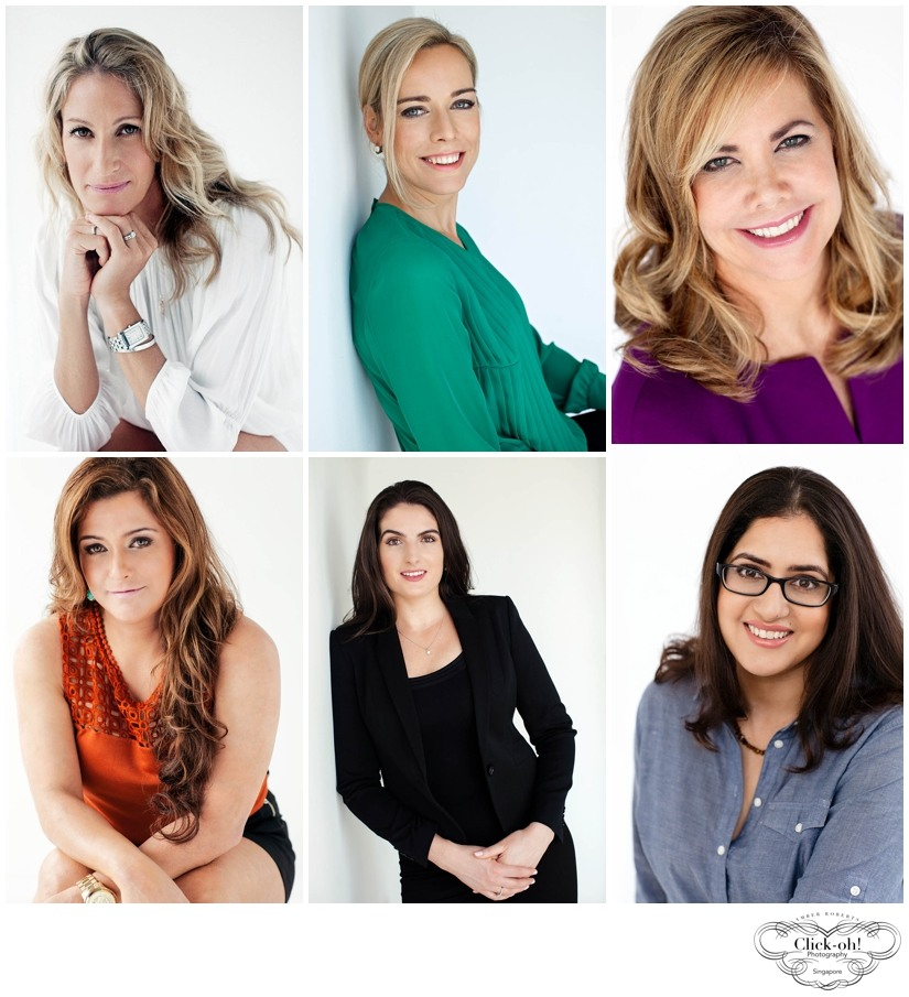 selection of elegant female professional headshots