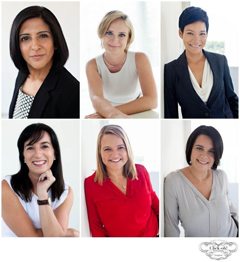 6 women pose for corporate headshots in the studio