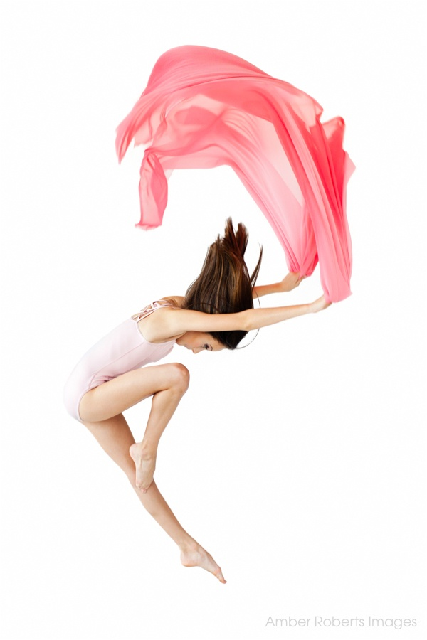 young girl leaps with silk in contemporary dance portrait minneapolis