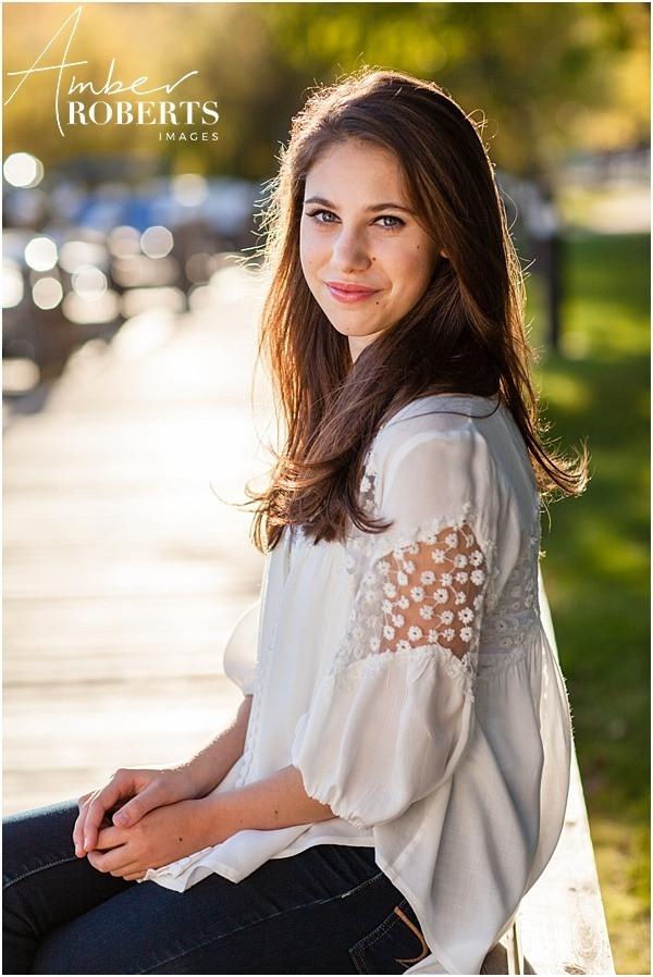 Photo of senior girl in the sunlight at Wayzata