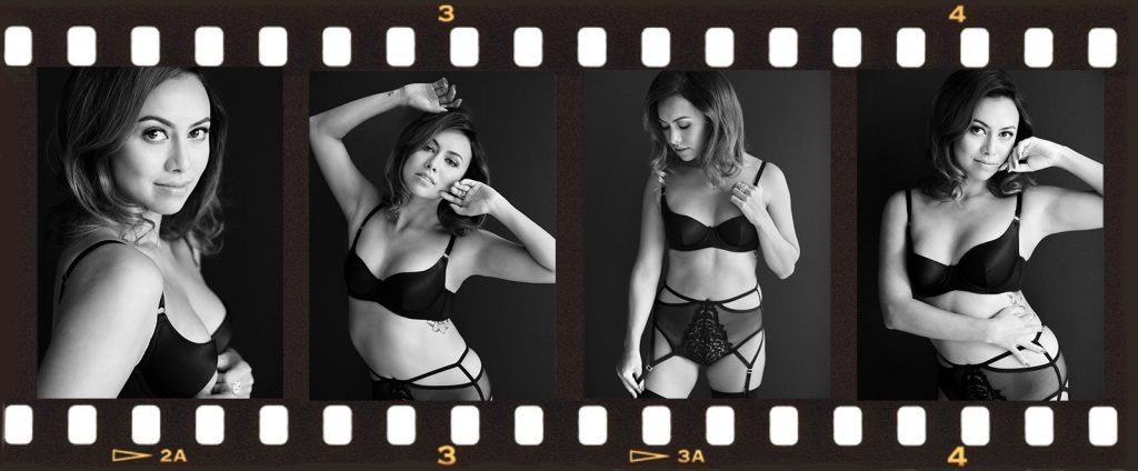 negative strip of film showing woman posing in lingerie